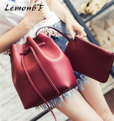 Women bag with Colorful Strap Bucket Bag Women PU Leather Shoulder Bags Crossbody messenger Bags wine red color normal