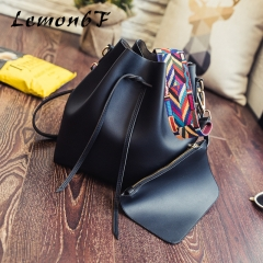 Women bag with Colorful Strap Bucket Bag Women PU Leather Shoulder Bags Crossbody messenger Bags black color normal