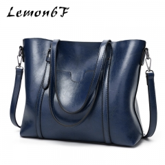 Women bag Oil wax Leather Handbags Luxury Hand Bags With Purse Pocket Women messenger bag Big Tote blue color high capacity