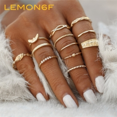 12 pc/set Gold Color Midi Finger Ring Set for Women Vintage Knuckle Party Ring Punk Jewelry Gift gold color 12 pieces /set