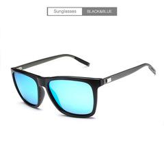 Brand Unisex Retro Aluminum+TR90 Sunglasses Polarized Lens Vintage Eyewear Accessories Sun Glasses Black + Blue one size