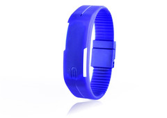 Silicone Led Sport Watches Men Women Children Electronic LED Digital Watch Man Ladies Running  Watch Blue color one piece