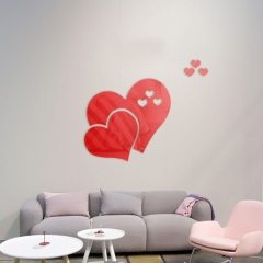 Love Crystal Acrylic Mirror Decorative Sticker 3D DIY Wall Sticker Wall Decal Home red one  size