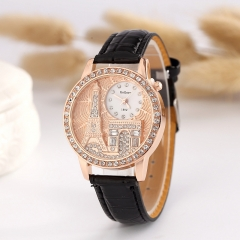 Women Fashion Watch  Leather Eifel Tower Watches Analog Diamond Females Quartz Watch black