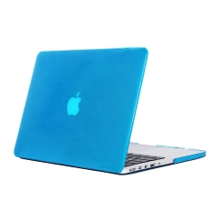 """15"""" Pro with Retina Case, Hard Rubberized Protective Cover for 15.4 inch Macbook crystal-light blue 15 Pro with Retina Display (Model:A1398 on the bottom of laptop)"""