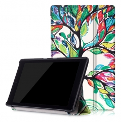 for Amazon Fire HD8 2016 Case, Hard Case + Smart Cover for 2016 Kindle Fire HD 8.0 Love tree PU Leather with Auto Sleep Wake Function