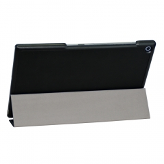 for Sony Xperia Z2 Case, Hard Case + Smart Cover Ultra Slim for Sony 10.1 Black PU Leather with Auto Sleep Wake Function