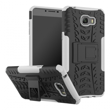 for Galaxy C9 Pro Case, Hard PC+Soft TPU Cover for 6.0 inch Samsung C9000 White Shockproof Tough Dual Layer
