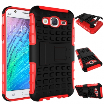 for Galaxy J5 2015 Case, Hard PC+Soft TPU Cover for 5.0 inch Samsung J500 Red Shockproof Tough Dual Layer