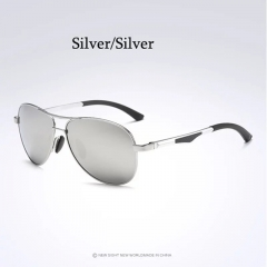 Aoron Brand Men Polarized Sunglasses Luxury Aluminum Eyewear Pilot Glasses silver+silver one size
