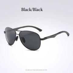 Aoron Brand Men Polarized Sunglasses Luxury Aluminum Eyewear Pilot Glasses black+black one size