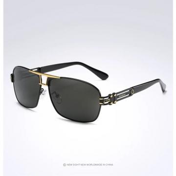 Aoron Brand Men Polarized Sunglasses Luxury Metal Frame Eyewear Coating Glasses gold+blacl one size