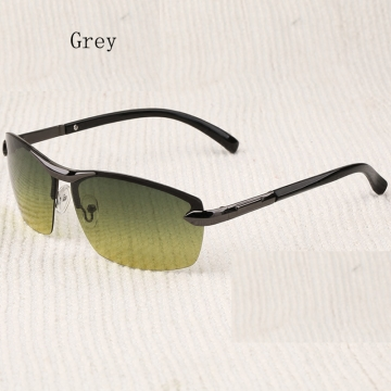 Aoron Brand Men Polarized Sunglasses Day and Night Vision Eyewear Driving Glasses gray one size