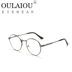 Oulaiou Fashion Accessories Anti-fatigue Popular Round Eyewear Frames Reading Glasses OJ9711 gray
