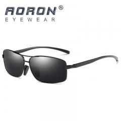AORON Brand Polarized Men Sunglasses Aluminum Magnesium HD Goggle black+black one size