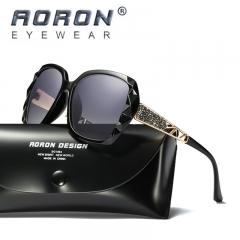 AORON Brand Women Polarized Sunglasses Diamond Frame Goggle HD Glasses black+black one size