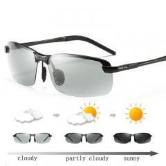 AORON Designer Photochromic Sunglasses Men Polarized Discoloration Anti Glare Goggles black one size