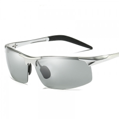 AORON Photochromic Sunglasses Men Polarized Discoloration Anti Glare Sport Goggles silver one size