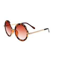 Oulaiou Classic Design New Fashion Accessories Anti - UV Round Sunglasses O727 gold+brown one size