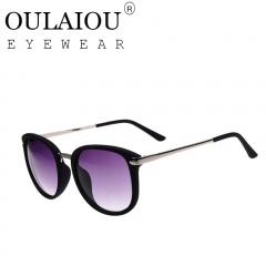 Oulaiou Classic Design New Women's Fashion Accessories UV400  Sunglasses O736 silver+black one size