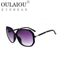 Oulaiou Classic Design New Women's Fashion Accessories UV400  Big Frame Sunglasses O767 black one size