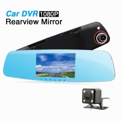 Ouchuangbo 5 inch car  rear view Mirror DVR dual lens digital video recorder  night Vision HD 1080P