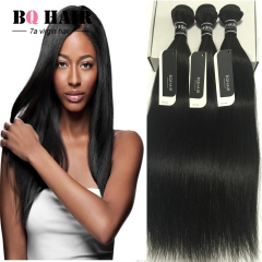 "BQ HAIR Top 7A 3 Bundles Brazilian Straight 100% Virgin Human Hair 100g/pc Cheap (8""~32"") nature black 10 10 10"