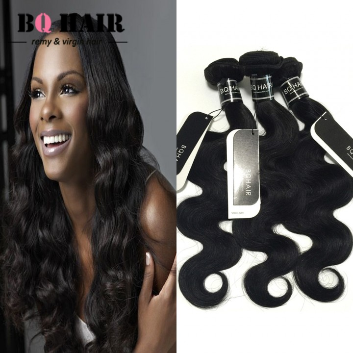 "BQ HAIR 8A 1/3/4 Bundles100% Brazilian Virgin Hair Body Wave Hair Weaves 100g/Bundle (10""~28"") nature black 16 18 20 22"