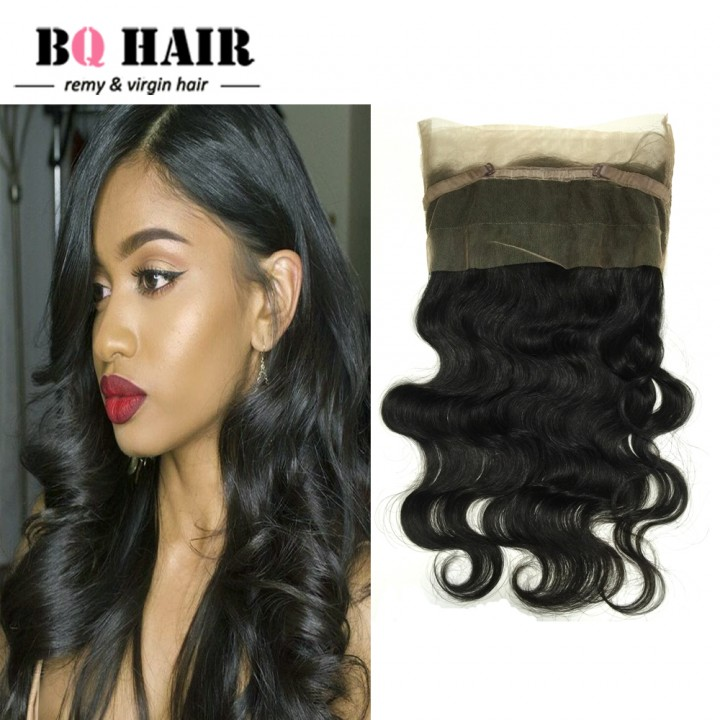 """BQ HAIR Grade 8A Pre Plucked 360 Lace Frontal Closure Brazilian Human Hair Body Wave (10""""~22"""") natural black 10 inch 360 lace frontal"""