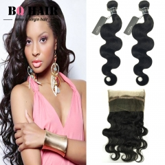 "BQ HAIR 8A 360 Lace Frontal with 2 Bundles 100% Unprocessed Brazilian Body Wave Human hair (10""~28"") nature black 12 14 +10"