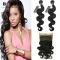 """BQ HAIR 8A 360 Lace Frontal with 2 Bundles 100% Unprocessed Brazilian Body Wave Human hair (10""""~28"""") nature black 14 16 +12"""