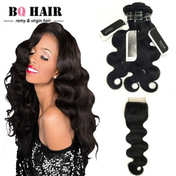 BQ HAIR 8A Body Wave Free/Middle/Three Part Brazilian Swiss Lace Closure with 2/3 Bundles Remy Hair nature black 8 8 +8