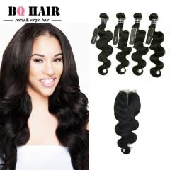 BQ HAIR Grade 8A Human Hair Lace Closure with 4 Bundles Body Wave Brazilian Remy Hair nature black 12 14 16 18 +10