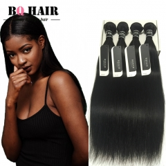 "BQ HAIR 8A 4 Bundles/400g Unprocessed Peruvian Human Hair Weave Straight Full Head Set  (10""~28"") nature black 10 10 10 10"