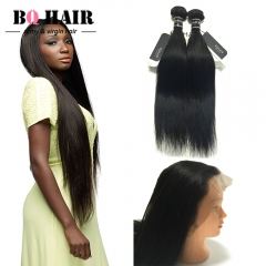 "BQ Hair Factory Price 8A 360 Lace Frontal with 2 Bundles Straight Virgin Human Hair (10""~22"") nature black 10 10 +10"