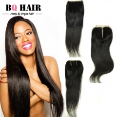 BQ HAIR 10~20inch Straight Brazilian Grade 8A Virgin Human Hair Natural Color 4*4 Lace Closure nature black 10 inch lace closure