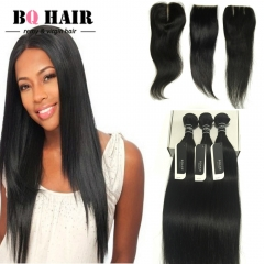 BQ HAIR 8A 3 Bundles Virgin Hair with 10 - 20 Inch Straight Free/Middle/Three Part Lace Closure nature black 16 18 20 +14