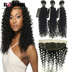 BQ HAIR Brazilian Deep Wave Human Hair Weaves 300g/3pcs and 13*4 Lace Frontal Ear to Ear natural black 10 10 10 +10