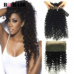 BQ HAIR 8A Deep Wave 360 Lace Frontal with 3 Pieces Brazilian Virgin Hair, Round Frontal Closure natural black 10 10 10 +10