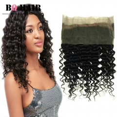 BQ HAIR 8A Pre Plucked Brazilian Deep Wave 360 Lace Frontal Ear to Ear 100% Unprocessed Human Hair natural black 10 inch 360 lace frontal