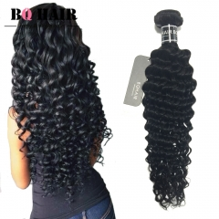 "BQ HAIR 8A 100% Human Hair Brazilian Deep Wave Virgin Human Hair 1pc/100g (10""~28"") nature black 10 inch"
