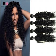 "BQ HAIR 8A 100% Unprocessed Peruvian Deep Curly 4 Bundles Virgin Human Hair 100g/Bundle (10""~28"") natural black 10 10 10 10"