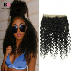 BQ HAIR Grade 8A 360 Lace Frontal Closure All Aound Deep Curly Brazilian 100% Unprocessed Human Hair natural black 10 inch 360 lace frontal
