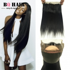 "BQ HAIR 8A Peruvian Straight Virgin Human Hair 360 Lace Frontal Closure 100% Unprocessed (10""~22"") natural black 10 inch 360 lace frontal"