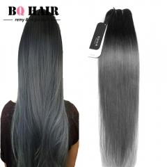 BQ HAIR Grade 8A 1B-Dark Gary Peruvian Human Virgin Hair Straight Wave High Quality 100g/bundle 1B Dark Grey 10 inch