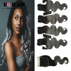 BQ HAIR 8A 1B-Dark Gray 4pieces/400G Body Wave 100% Peruvian Human Hair Bundles and 4*4 Lace Closure 1b dark grey 10 10 10 10 +12