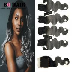 BQ HAIR 8A 1B-Dark Gray 4pieces/400G Body Wave 100% Peruvian Human Hair Bundles and 4*4 Lace Closure 1b dark grey 10 10 10 10 +12