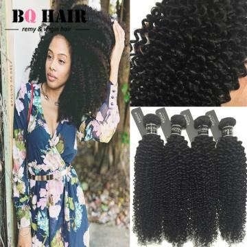 BQ HAIR 4 Pieces/400G Brazilian Hair Bundles Kinky Curly Virgin Hair , 100% Unprocessed Human Hair natural black 12 12 12 12