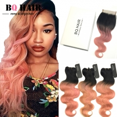 BQ HAIR 8A 3pcs/300G Body Wave Extension Human Hair Weaves and 4*4 Lace Frontal for Mother's Day 1b-rose gold 10 10 10 +12