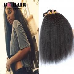 BQ HAIR 3Bundles/300g Unprocessed Peruvian Human Hair Weave Kinky Straight Full Head Set natural black 10 10 10